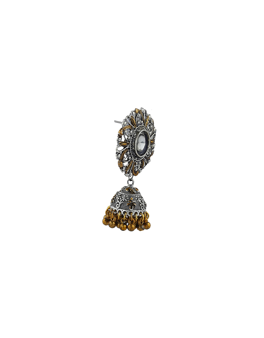 Designer Golden And Silver Finish Oxidized Earrings Online.