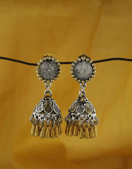 Dazzling Floral Designed Silver And Golden Finish Oxidized Earrings