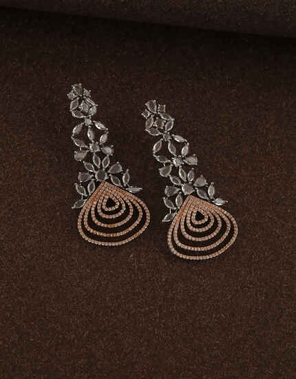 Ethnic Design Studded with American Diamond Earring for Women