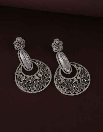 Round Design Studded With American Diamond Earring For Women