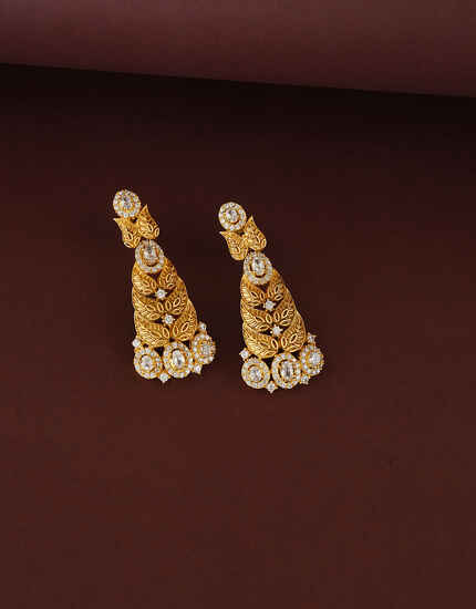 Matte Gold Finish Leaf Design Diamond Earring For Women