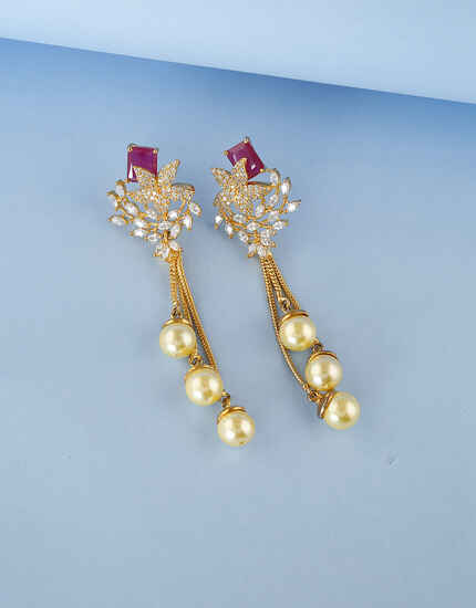 Floral Pearl Design Studded with American Diamond Earring for Women