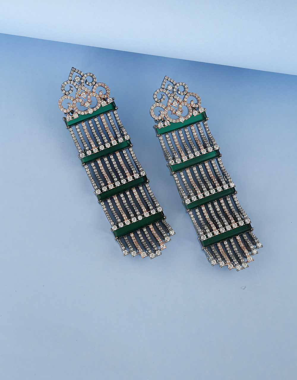 Green Colour Studded with American Diamond Earring for Women