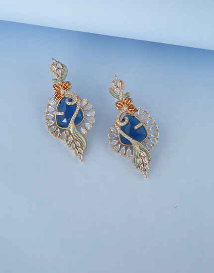 Floral Design Blue Stone Studded with American Diamond Earring for women