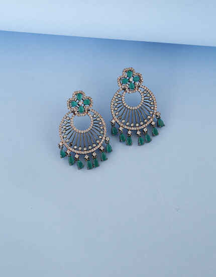 Floral Round Green Colour Design Studded with American Diamond Earring for Women