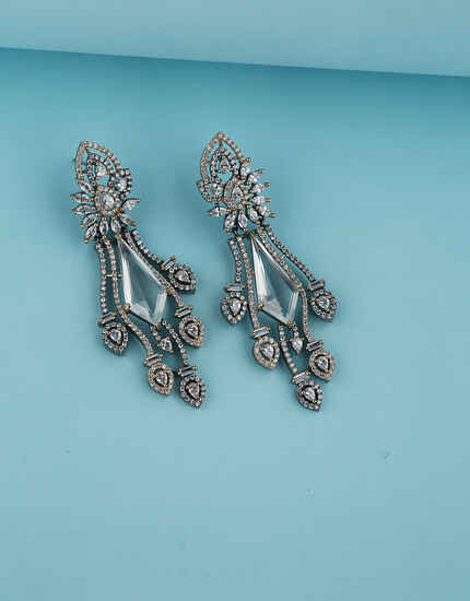 Fancy Design Studded with American Diamond Earring for Women