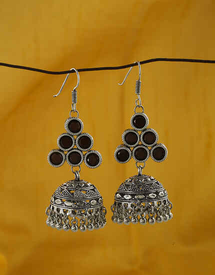 Adorable Brown Colour Oxidized JhumkaEarrings Online.
