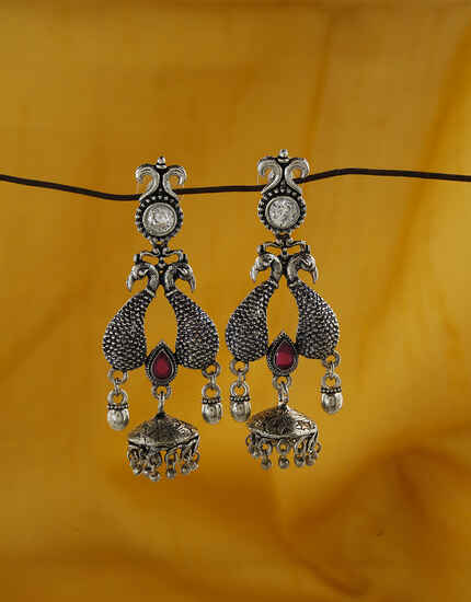 Peacock Designed Rani Colour Oxidized Earrings.