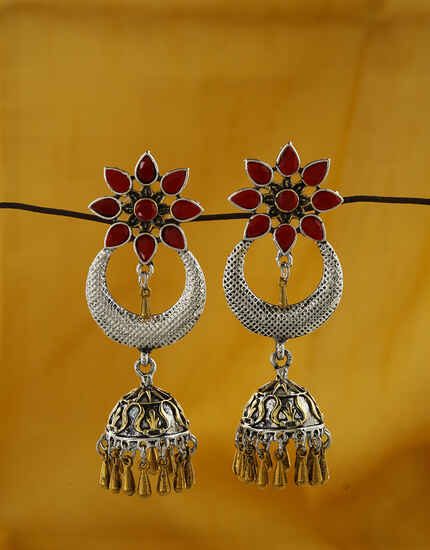 Beautiful Red Colour Oxidized Earrings Online.