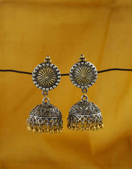 Silver and Golden Finish Oxidized Earrings for Women