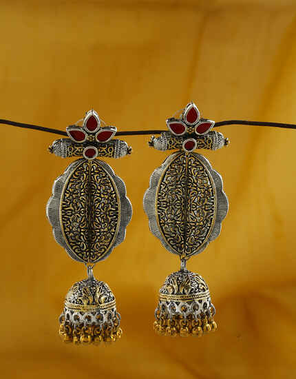 Unique Red Colour Oxidized Earrings for women.