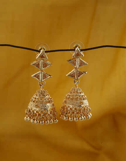 Dazzling Golden Finish Oxidized Earrings Online