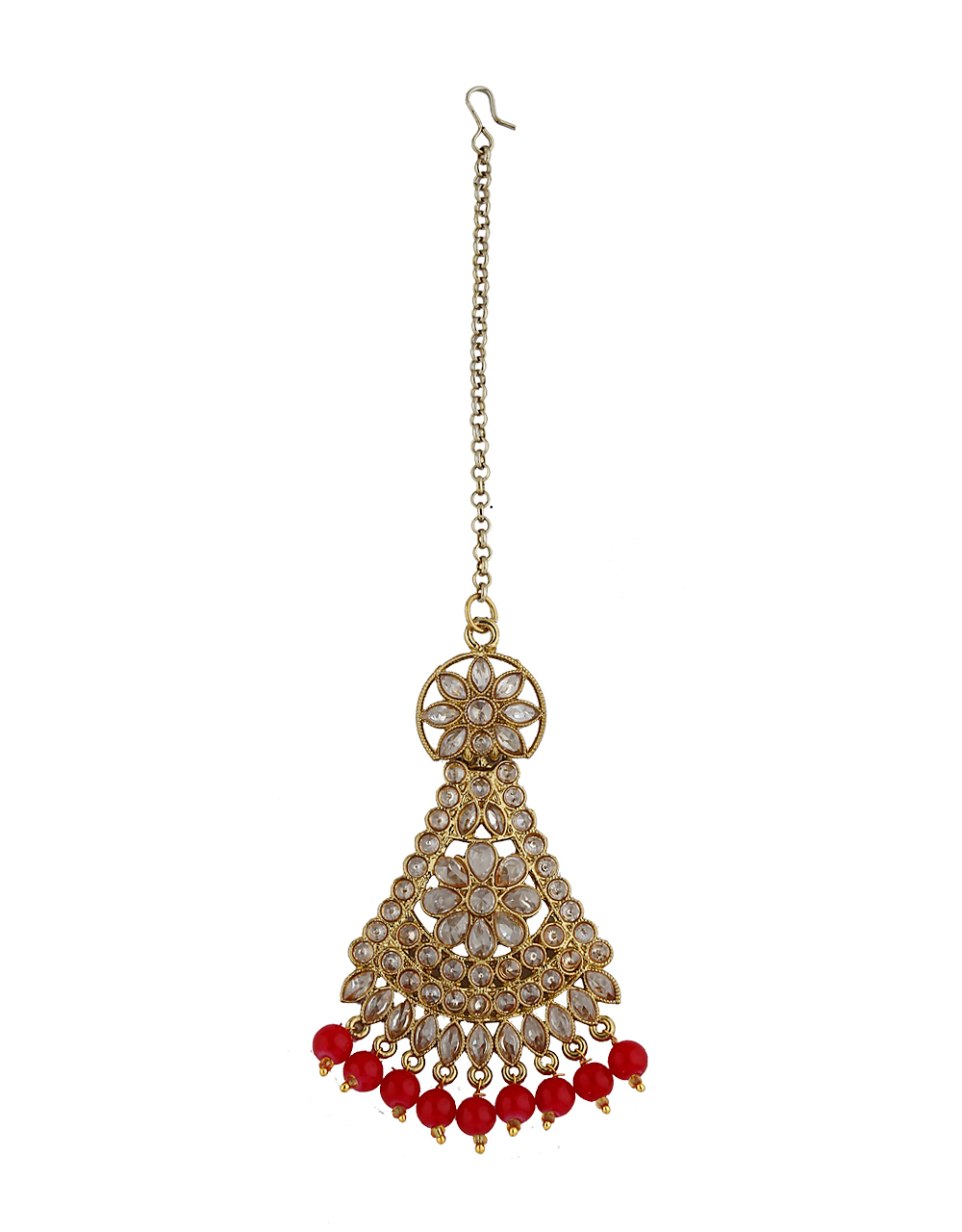 Triangular Floral Design Decked With LCT Stone Maang Tikka  For Women