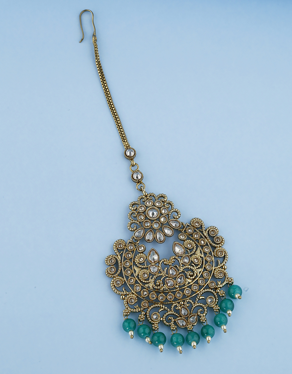 Fancy Design Studded With LCT Stones Maang Tikka  For Women