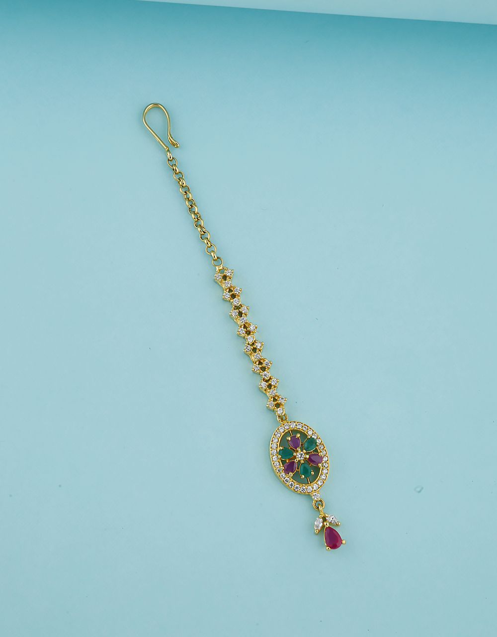Floral Design Pink-Green Colour Stone Studded With American Diamond Maang Tikka  For Women