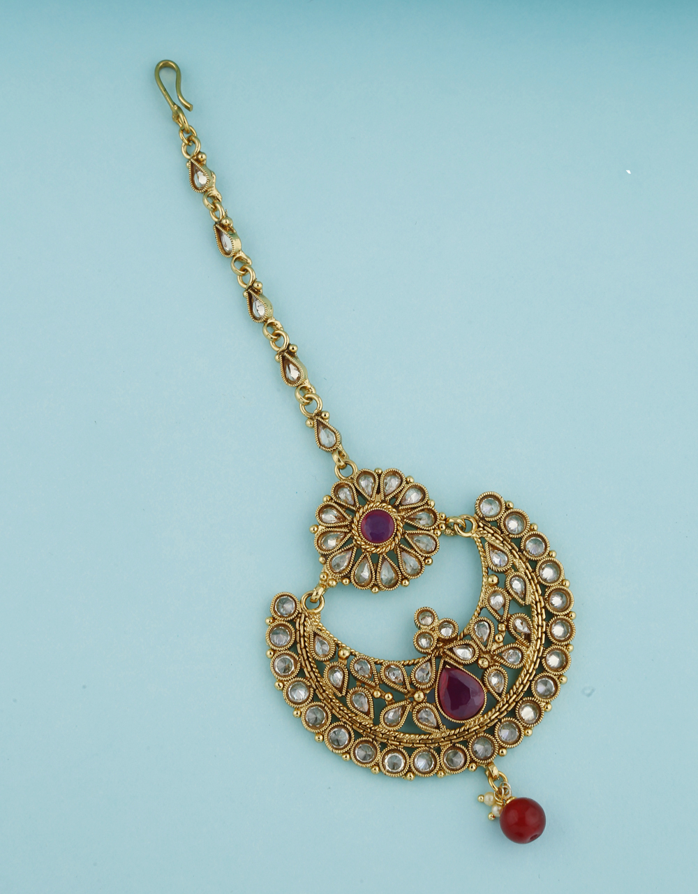 Antique Design Decked With LCT Stone Maang Tikka  For Women