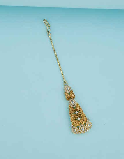 Golden Leaf Design Studded With Diamond Maang Tikka  For Women
