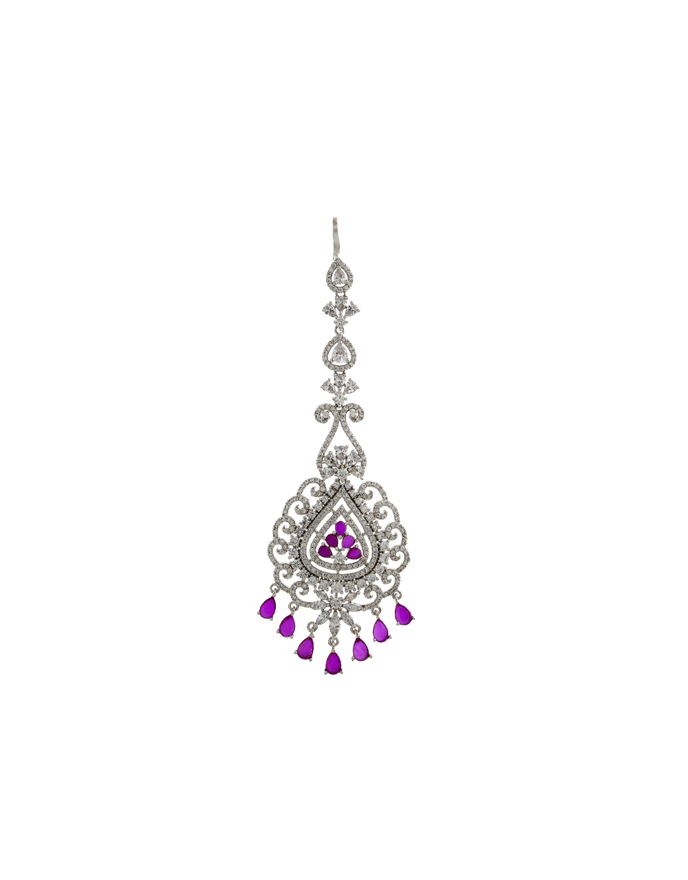 Antique Design Pink  Stone Studded With Diamond Maang Tikka  For Women