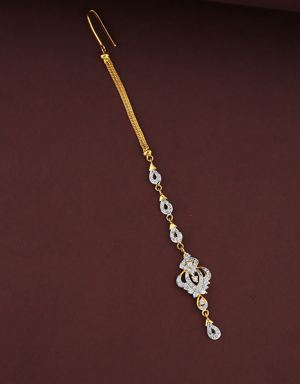 Fancy Design Studded With Diamond Maang Tikka  For Women