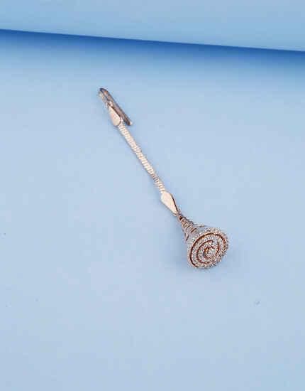 Fancy Design Rose Gold Finish Borla Maang Tikka For Women