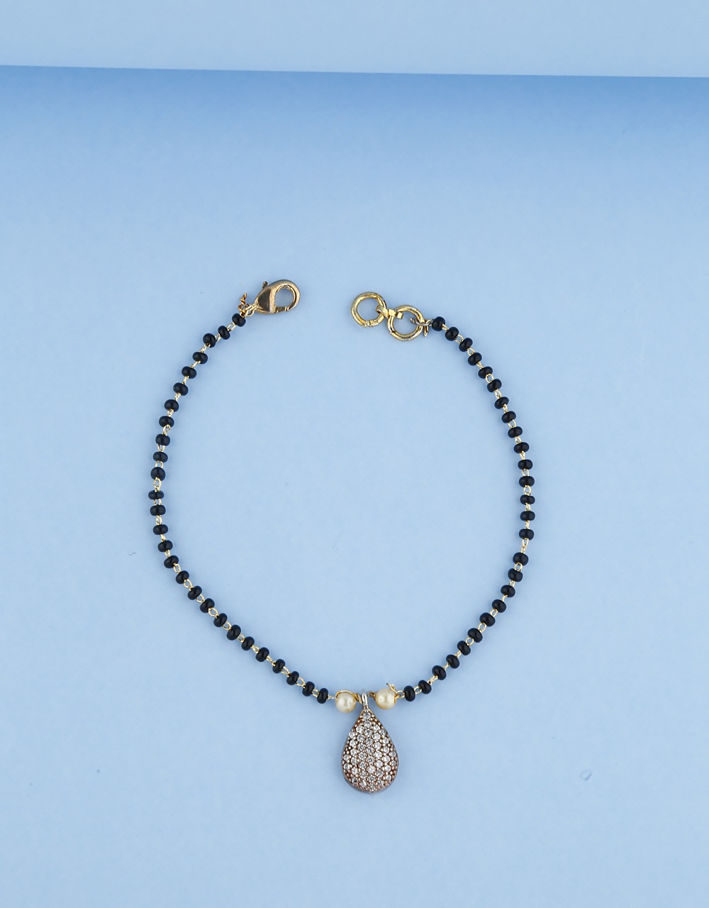 Modern Design Fixed With  Beads Hand Mangalsutra For Women