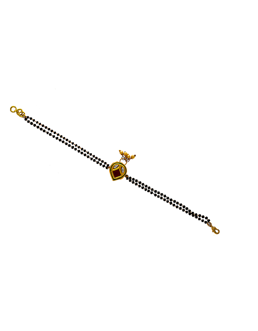 Ethnic Design Studded With Red Stone Hand Mangalsutra For Women
