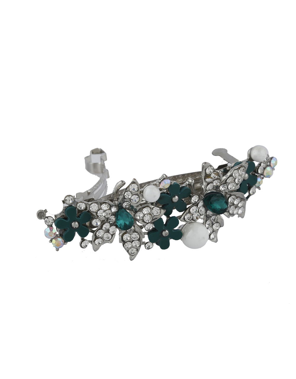 Green Colour Floral Design Back Pin For Women
