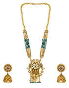 Antique Design Green Stone Decked With Kundan Pendant Set For Women