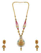 Drop Design Studded With Kundan And Green Stone Pendant Set For Women