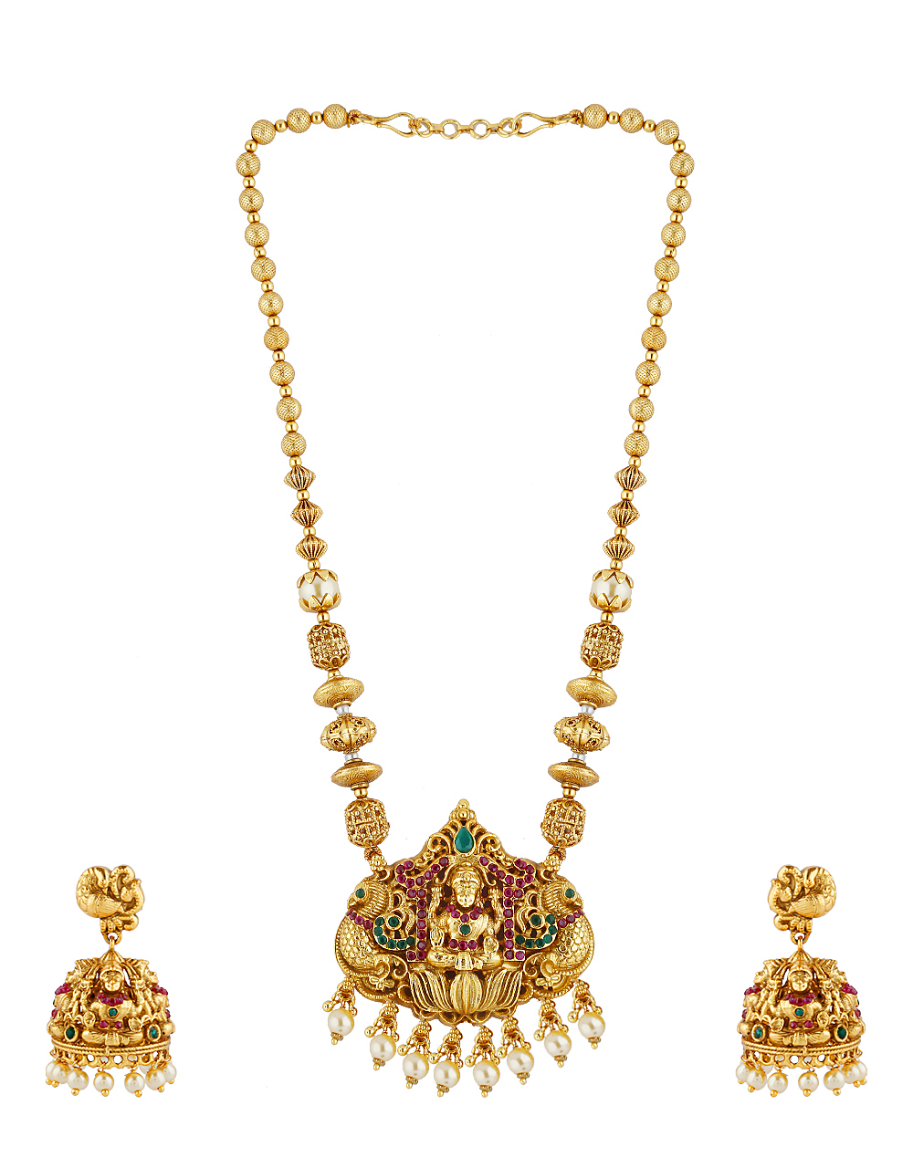 Temple Design Pink Stone And Matte Gold Finish Pendant Set For Women