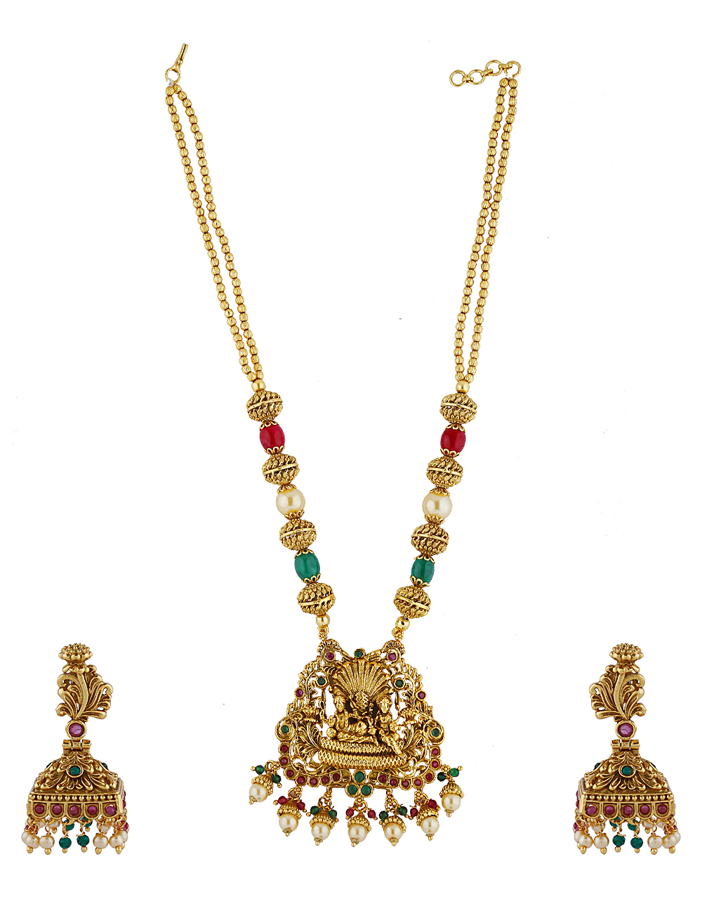 Fashionable Temple Design Matte Gold Finish Pendant Set With Pair Of Earring