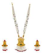Ethnic Design Matte Gold Finish Pendant Set For Women