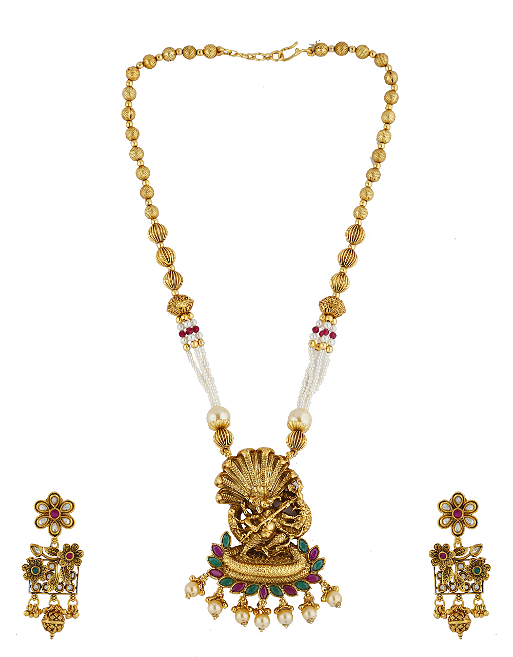 Temple Design Green Stone Decked Pendant Set For Women