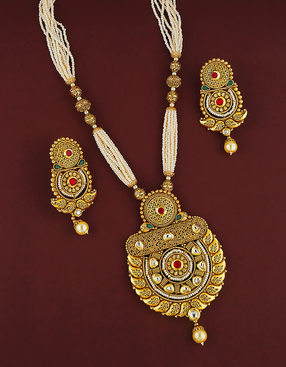 Ethnic Design Studded With kundan stone Pendant Set For Women