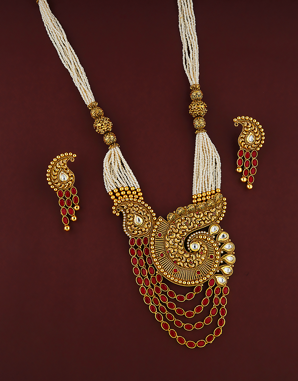 Delicate Design Studded With Red Stone Pendant Set For Women