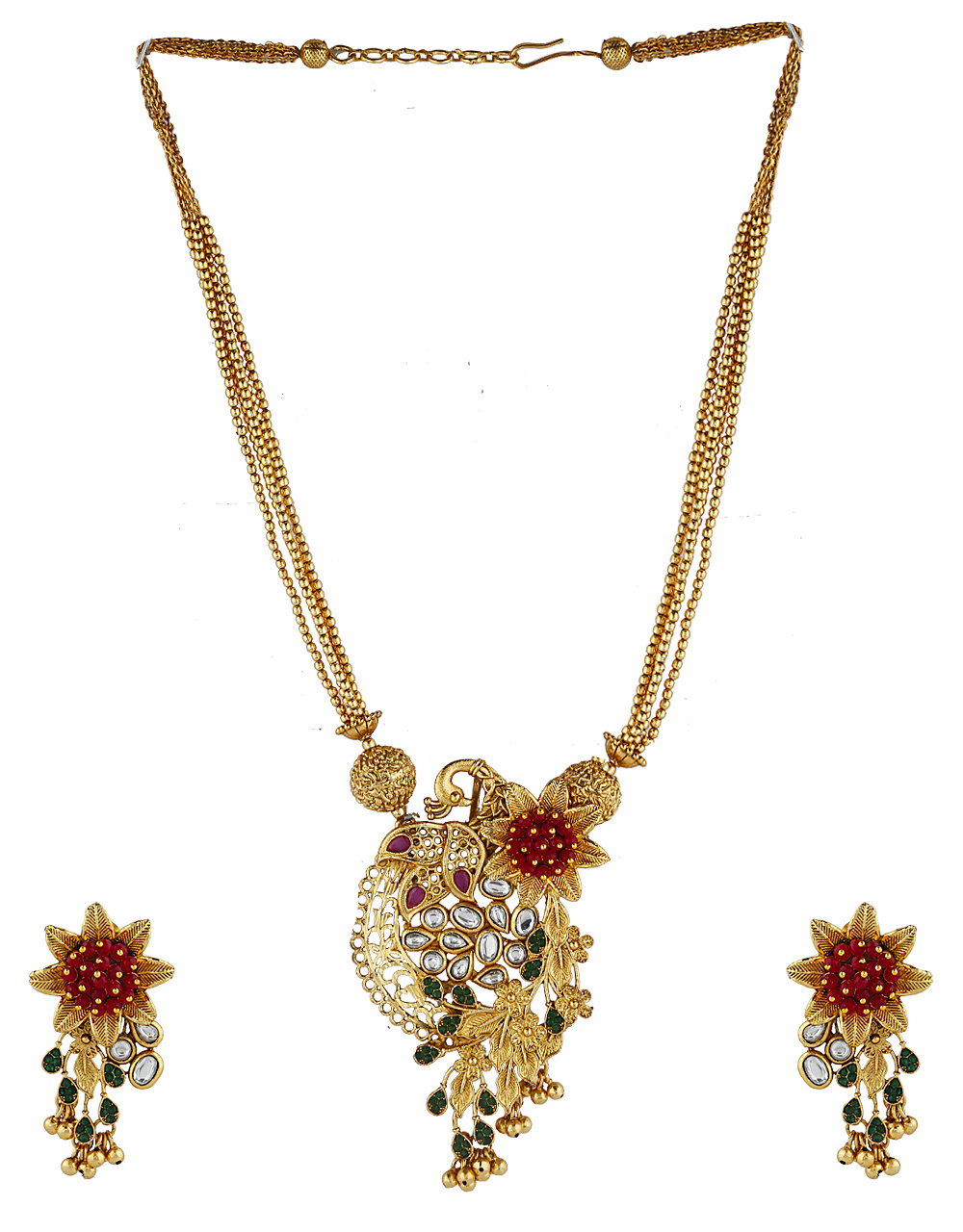 Floral Design Multi-Colour stone Studded Pendant Set For Women