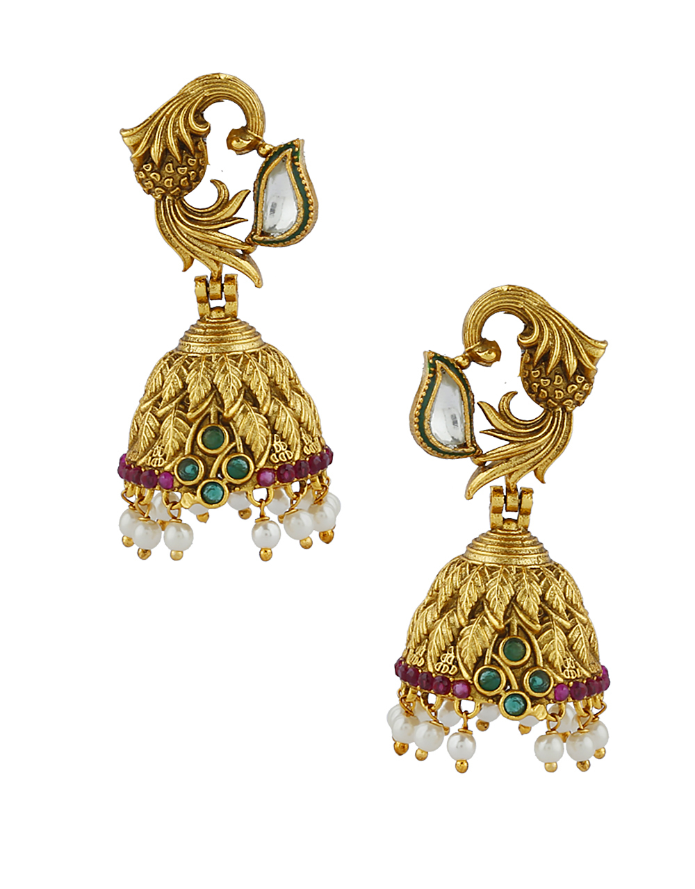 Antique Design With Gold Finish Pendant With Pair Of Earring For Women