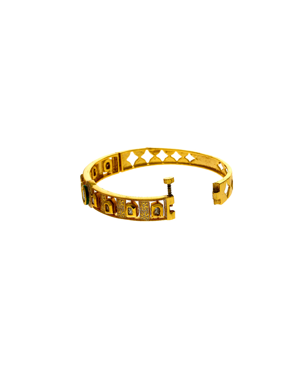 Fancy Golden Finish Kundan Studded American Diamond Bracelet Online.