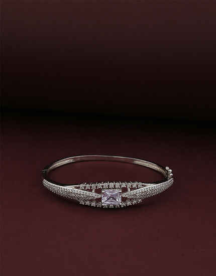 Unique Silver Finish American Diamond Bracelet for women Latest Design.