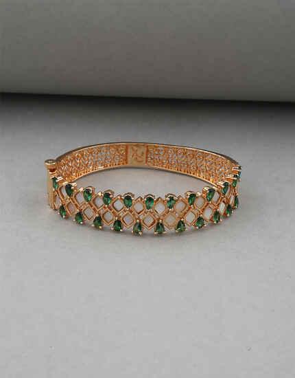 Green Colour Matte Gold Finish American Diamond Bracelet For Women.
