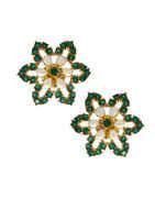 Floral Designed Green Stone White Moti Studded Diamond Pendant Set.