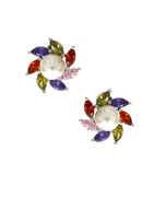 Designer Multi-Colour Silver Finish Moti Styled Diamond Pendant Set Online.