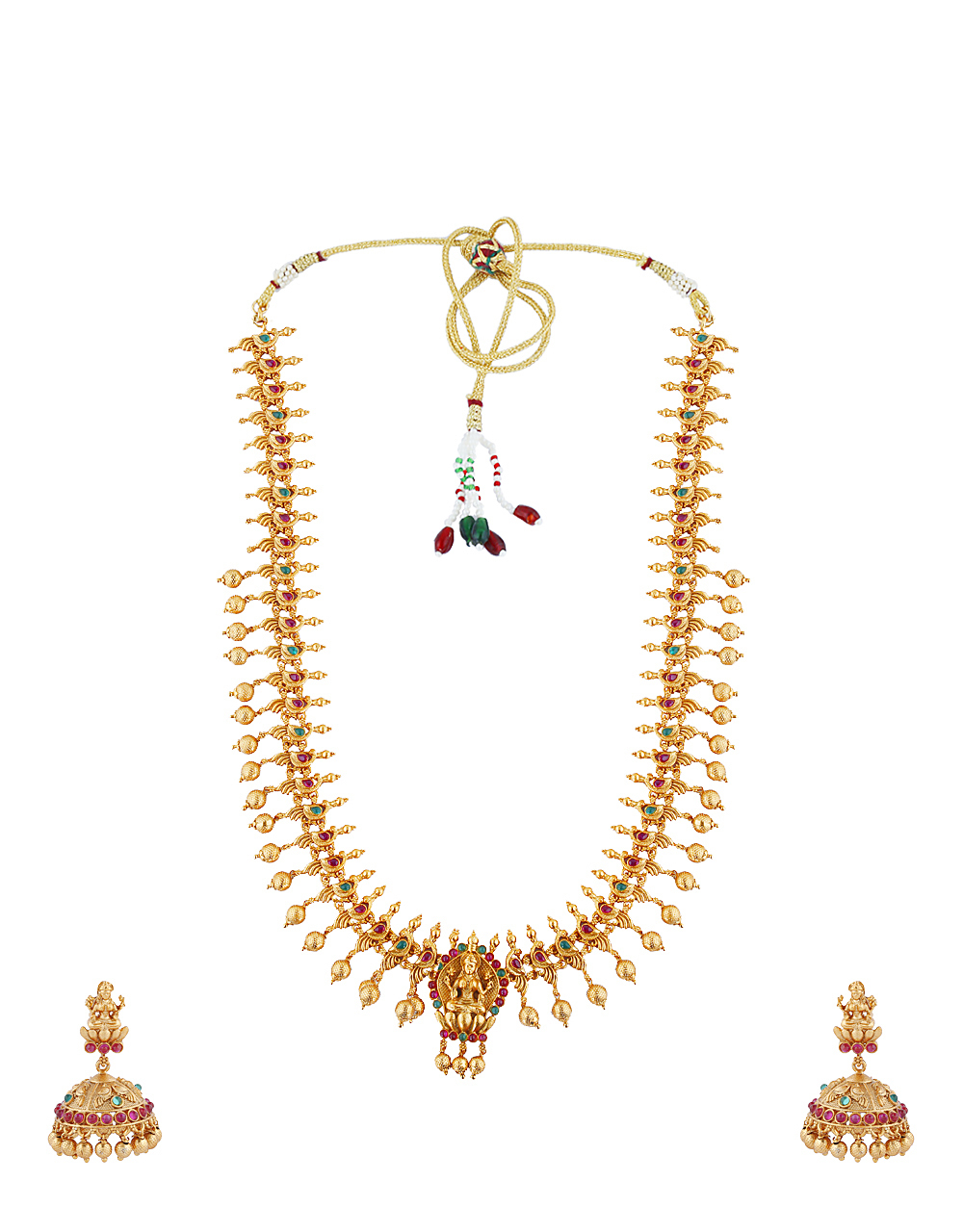 Temple Design Studded With Multi-Colour Stone Long Necklace For Women