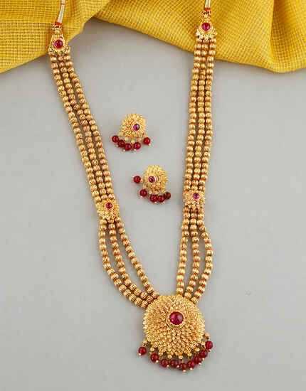 Floral Design Studded With Pink Colour Stone Long Necklace For Women