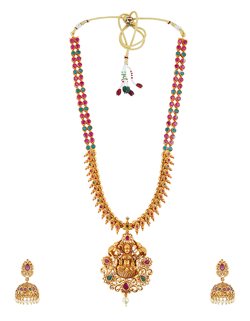 Temple Design Multi-Colour Stone Studded Long Necklace For Women