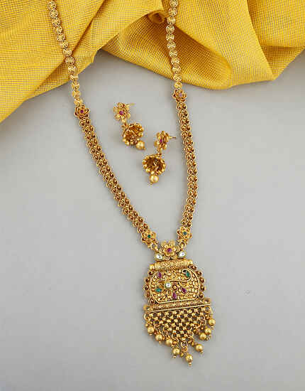 Antique Design Studded With Multi-Colour Stone Long Necklace For Women