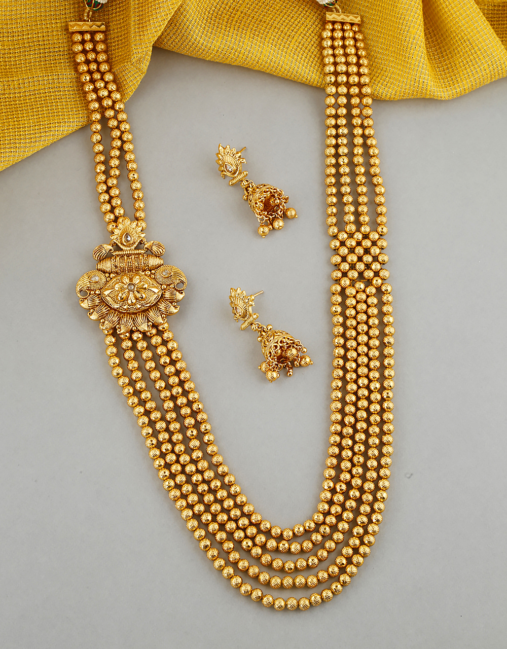 Fancy Design With Sparkling Gold Finish Long Necklace For Women