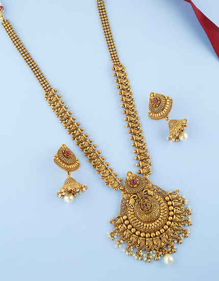 Floral-Peacock Design With Matte Gold Finish Long Necklace For Women