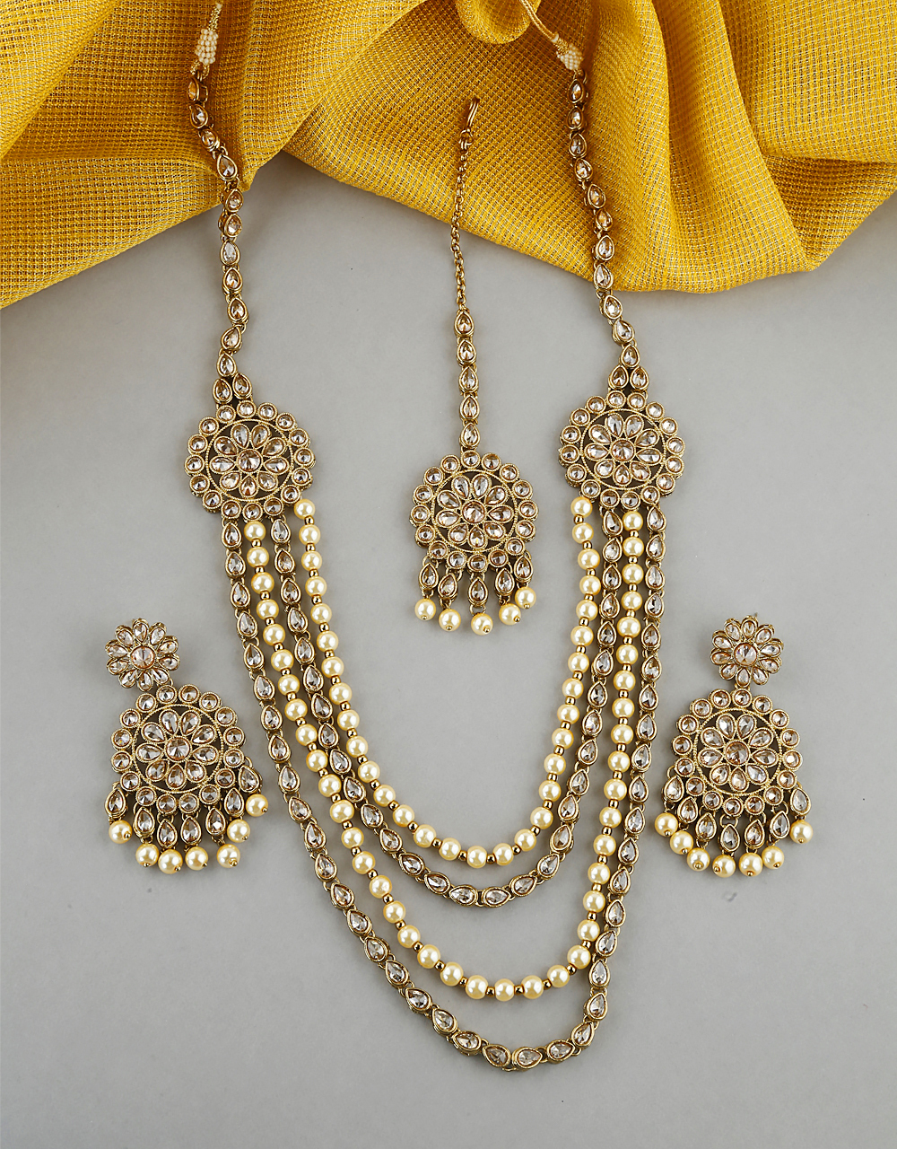 Classy Design Studded  With LCT Stone Long Necklace For Women