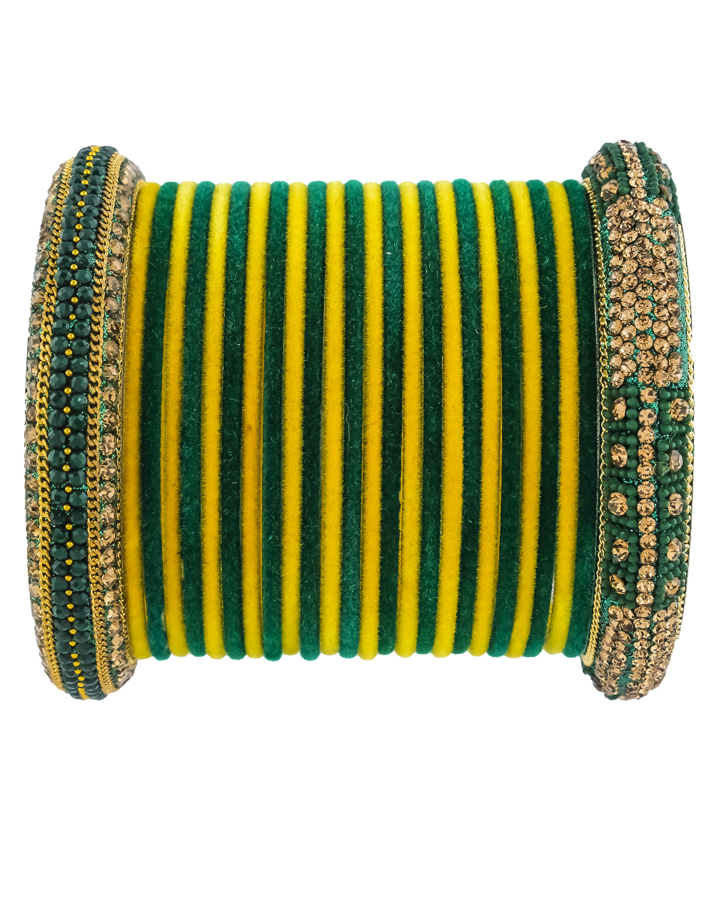 Fancy Green And Yellow Colour Matching Bangle Set For Women.